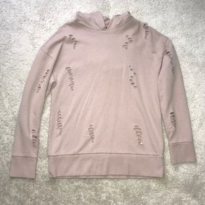 Top Shop Ripped Hoodie Faded Pink